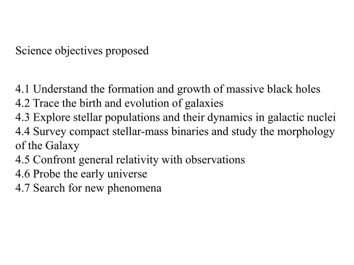 Science objectives proposed