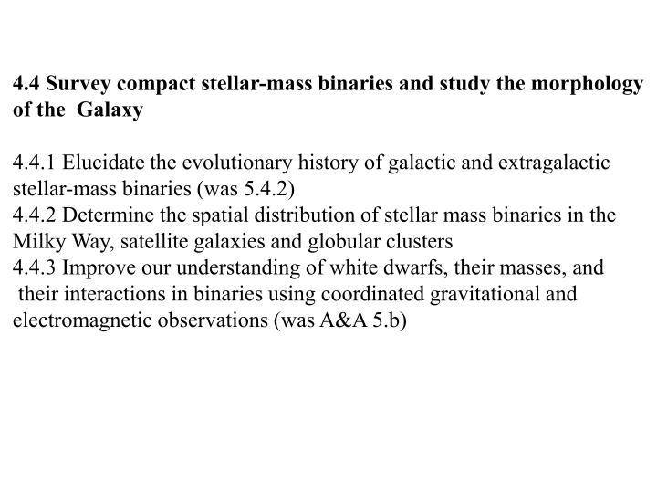 4.4 Survey compact stellar-mass binaries and study the morphology