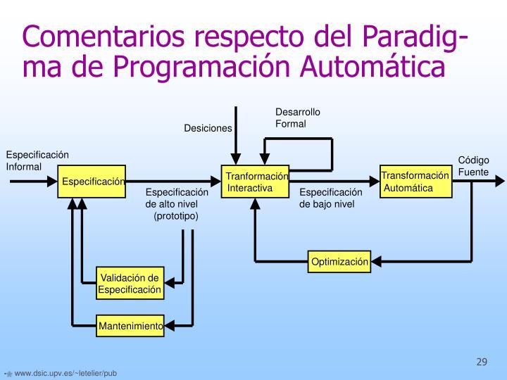 Comentarios respecto del Paradig-ma de Programación Automática