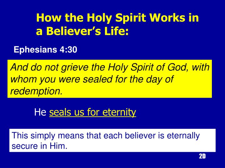 How the Holy Spirit Works in 		a Believer's Life: