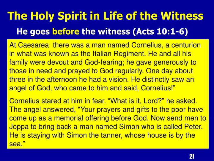 The Holy Spirit in Life of the Witness