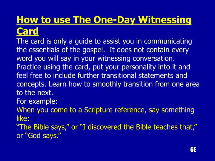 How to use The One-Day Witnessing Card