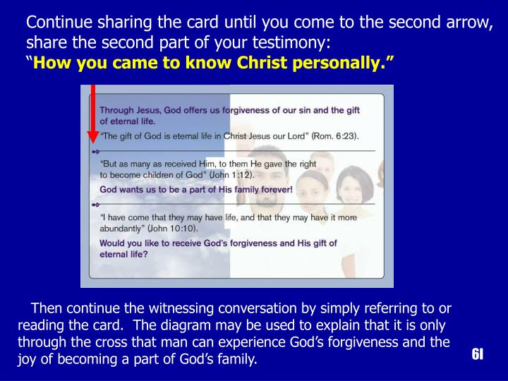 Continue sharing the card until you come to the second arrow, share the second part of your testimony:
