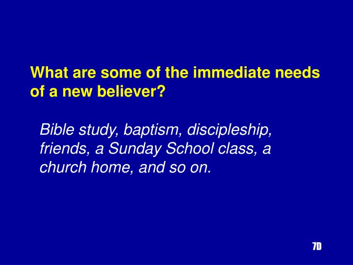 What are some of the immediate needs of a new believer?