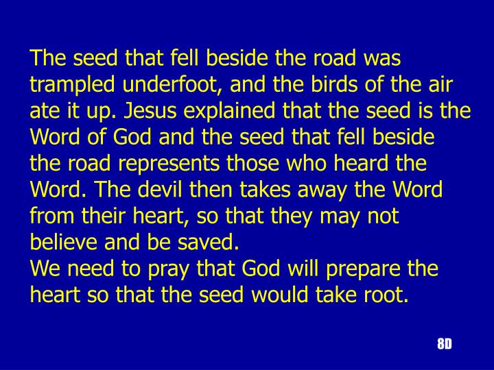 The seed that fell beside the road was