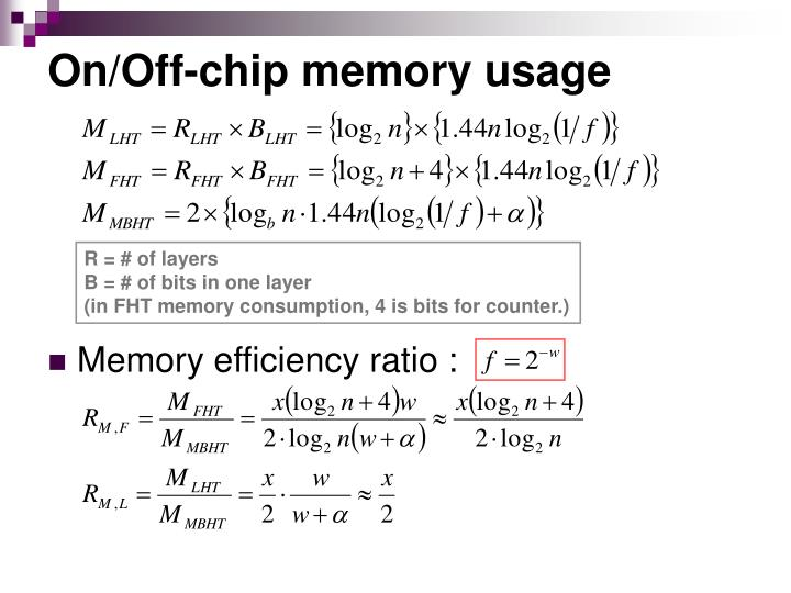 On/Off-chip memory usage