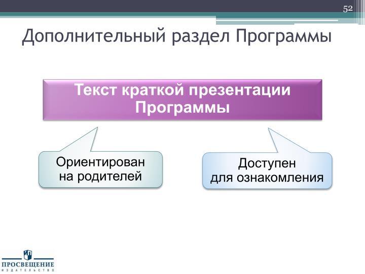 Дополнительный раздел Программы