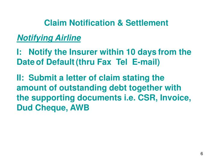 Claim Notification & Settlement
