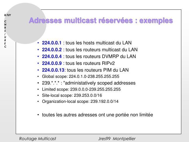 Adresses multicast réservées : exemples