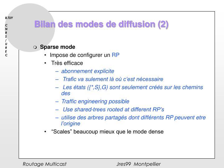 Bilan des modes de diffusion (2)