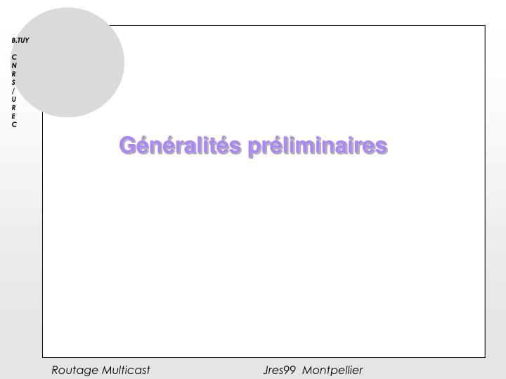 Généralités préliminaires