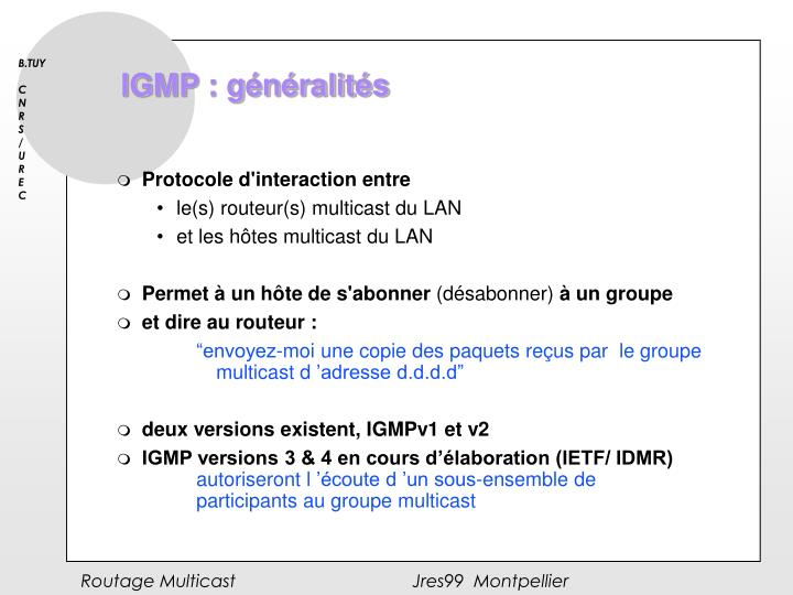 IGMP : généralités