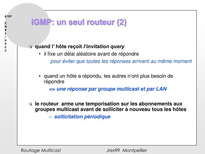 IGMP: un seul routeur (2)