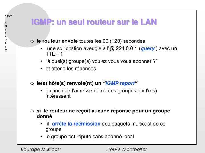 IGMP: un seul routeur sur le LAN