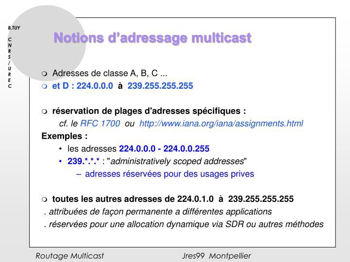 Notions d'adressage multicast