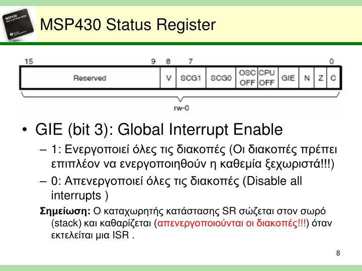 MSP430 Status Register