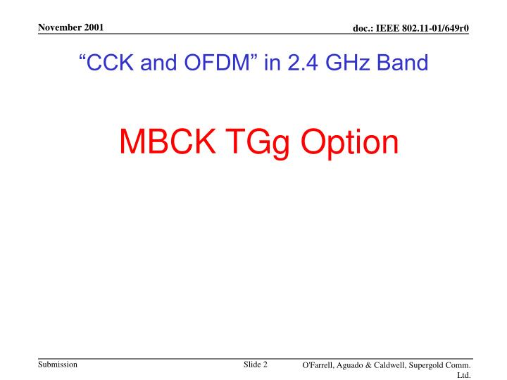 """""""CCK and OFDM"""" in 2.4 GHz Band"""