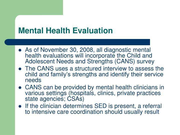 Mental Health Evaluation