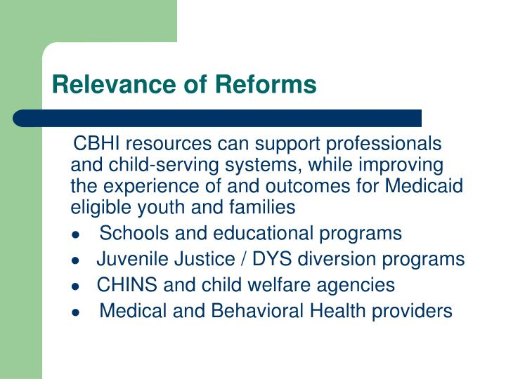 Relevance of Reforms