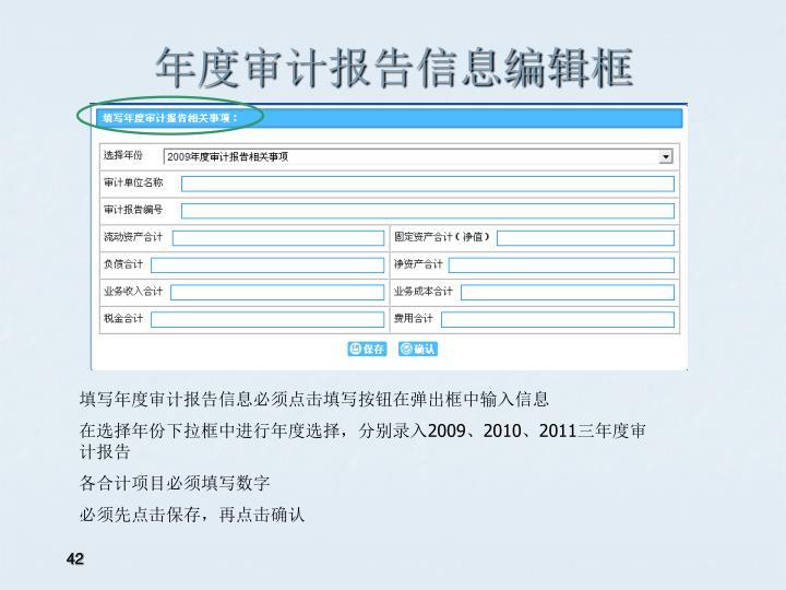 年度审计报告信息编辑框