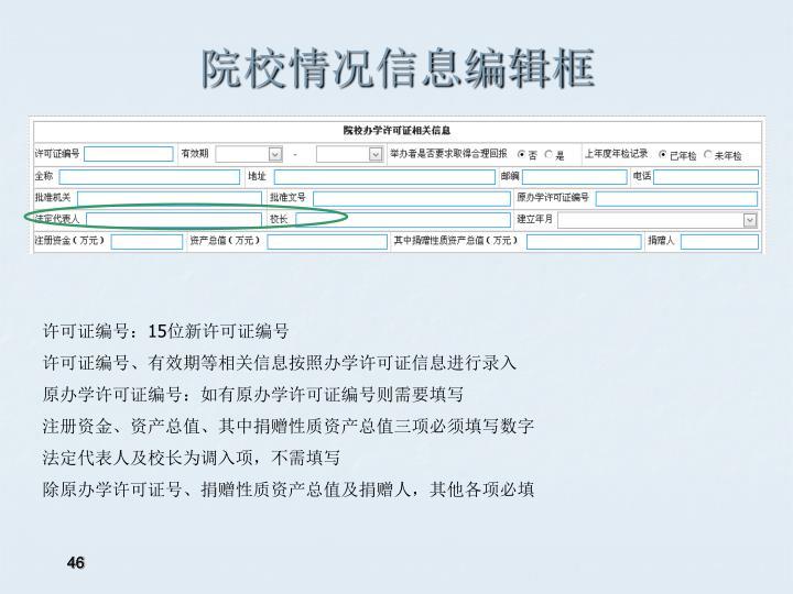 院校情况信息编辑框
