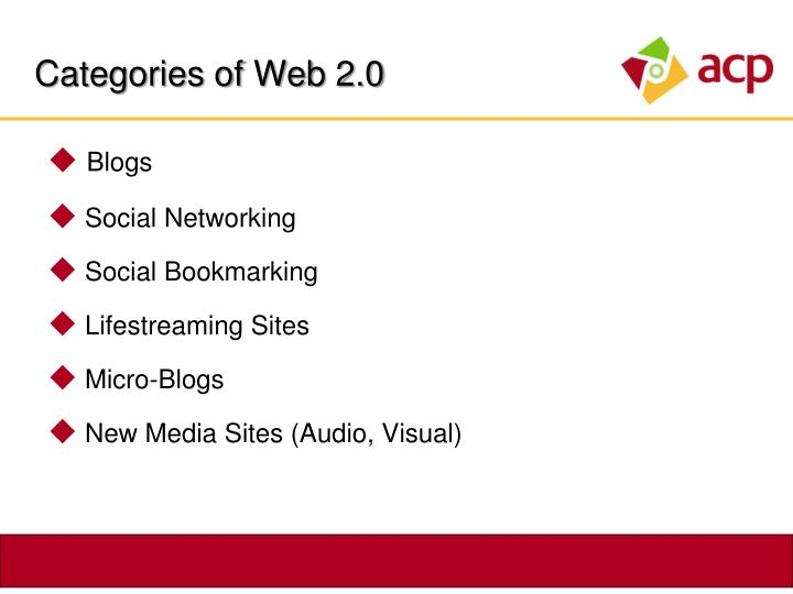 Categories of Web 2.0