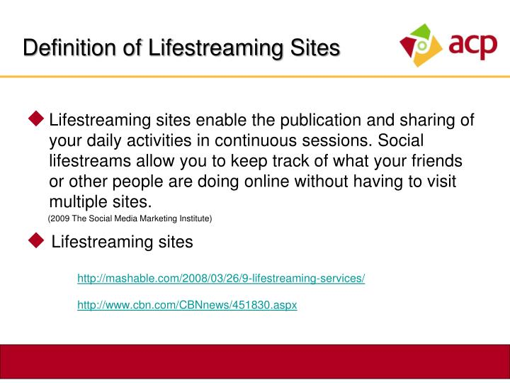 Definition of Lifestreaming Sites
