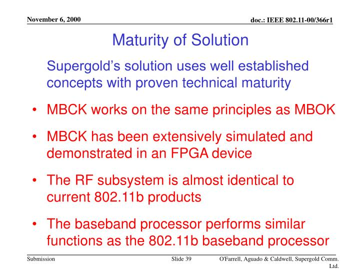 Maturity of Solution