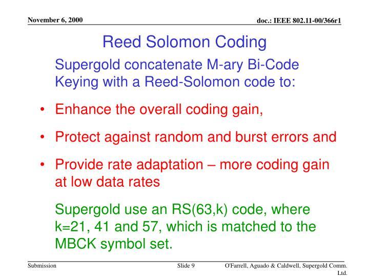 Reed Solomon Coding