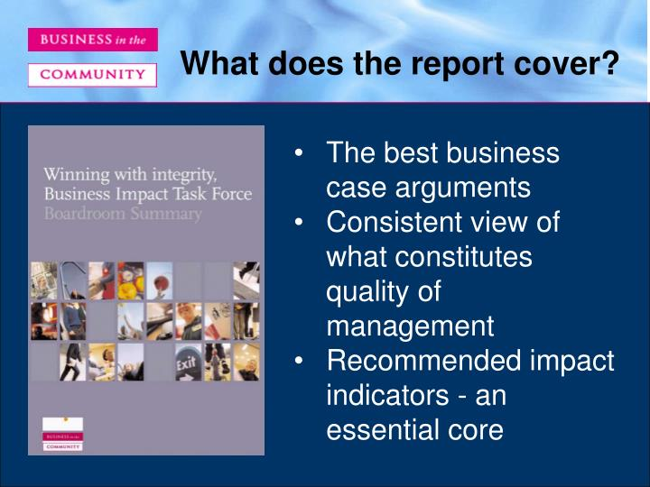 What does the report cover?