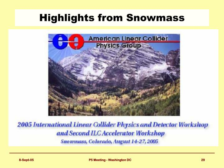 Highlights from Snowmass