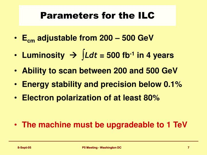 Parameters for the ILC