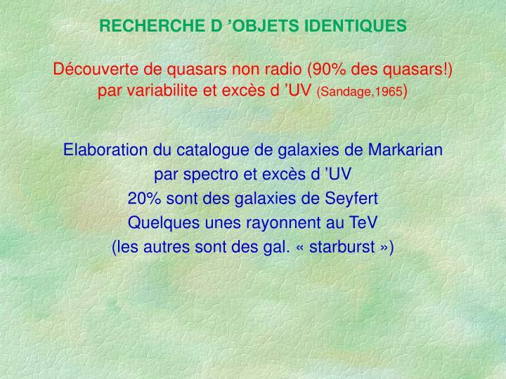RECHERCHE D'OBJETS IDENTIQUES