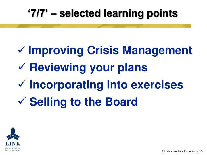 7 7 selected learning points1