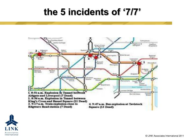 the 5 incidents of '7/7'