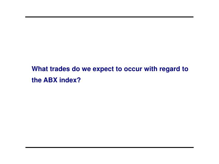 What trades do we expect to occur with regard to the ABX index?