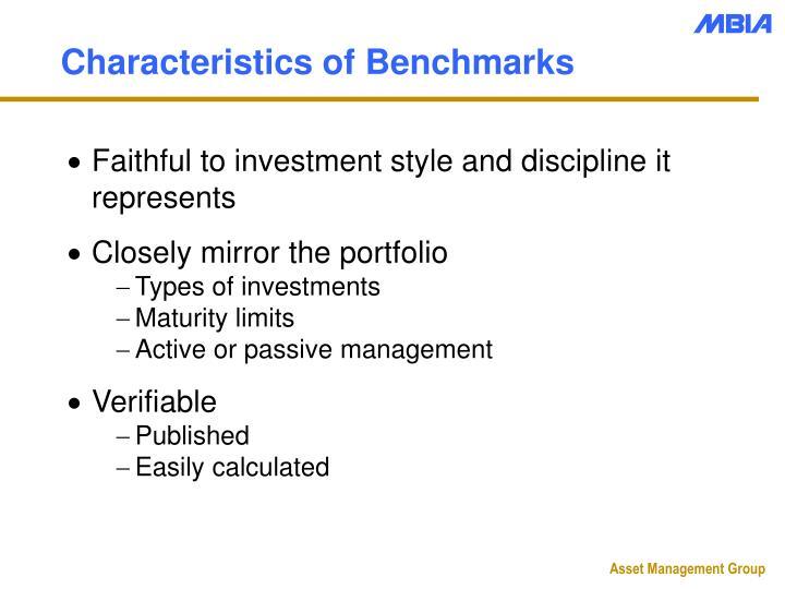 Characteristics of Benchmarks