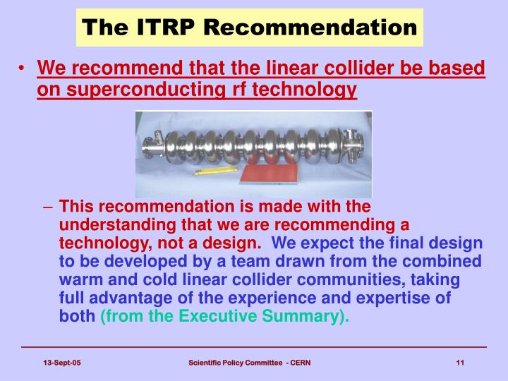 The ITRP Recommendation