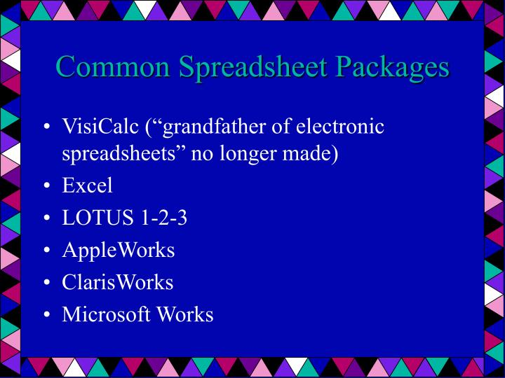 Common Spreadsheet Packages