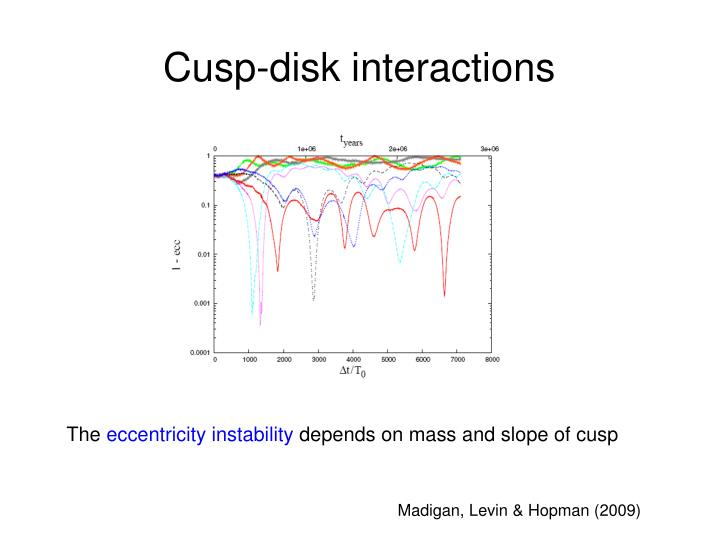 Cusp-disk interactions