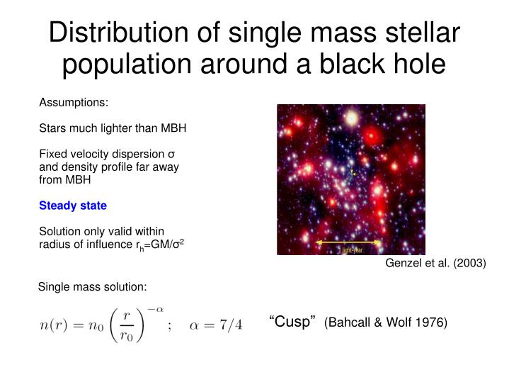 Distribution of single mass stellar population around a black hole