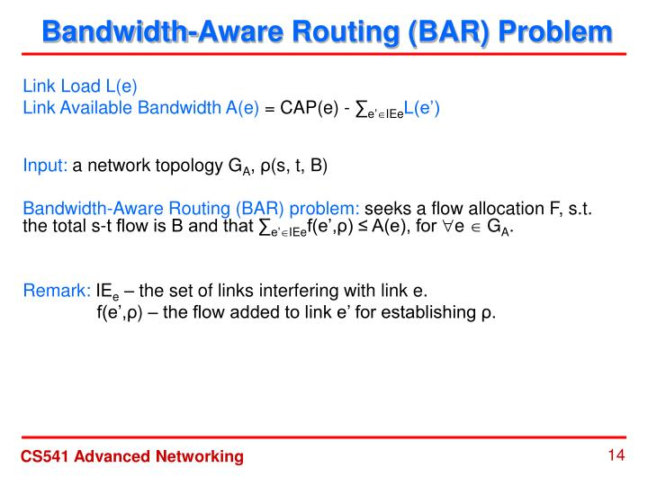 Bandwidth-Aware Routing (BAR) Problem