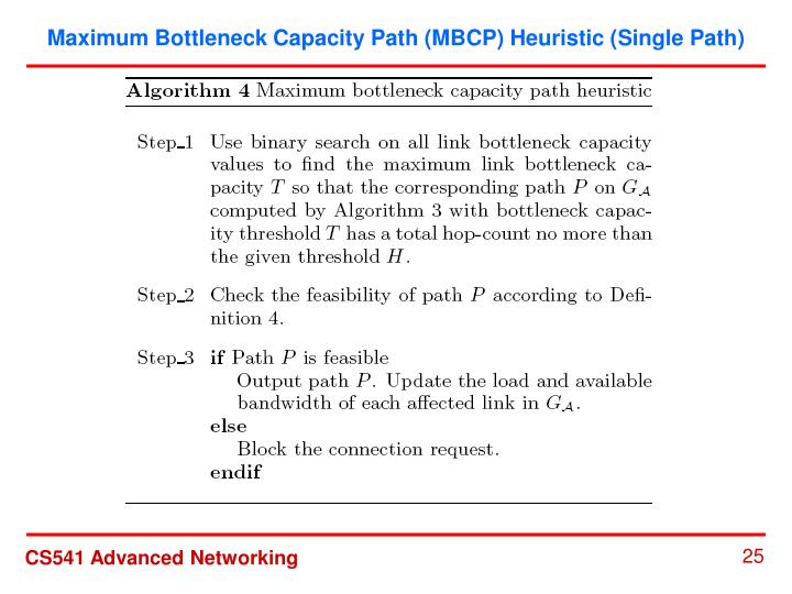 Maximum Bottleneck Capacity Path (MBCP) Heuristic (