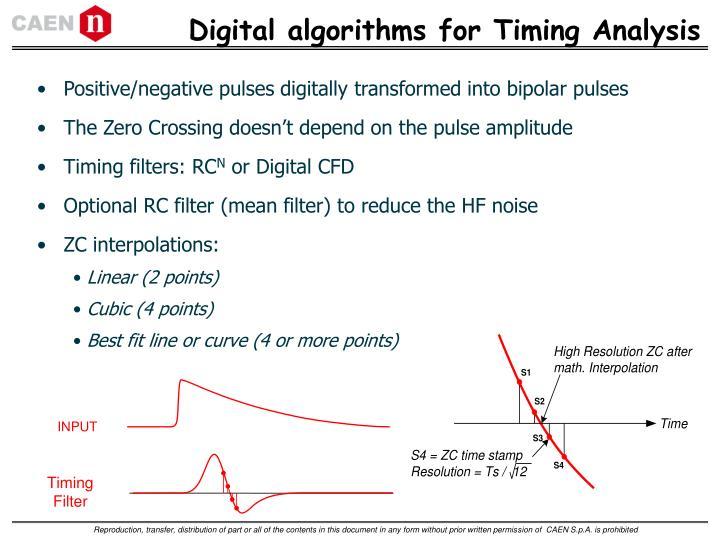 Digital algorithms for Timing Analysis
