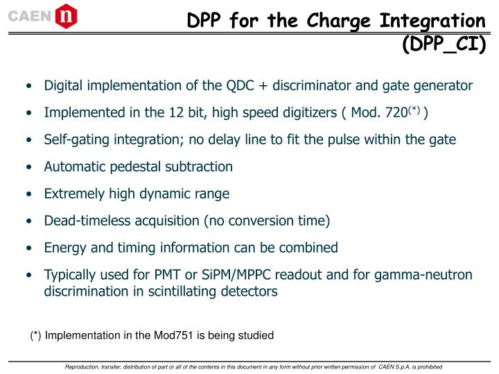 DPP for the Charge Integration