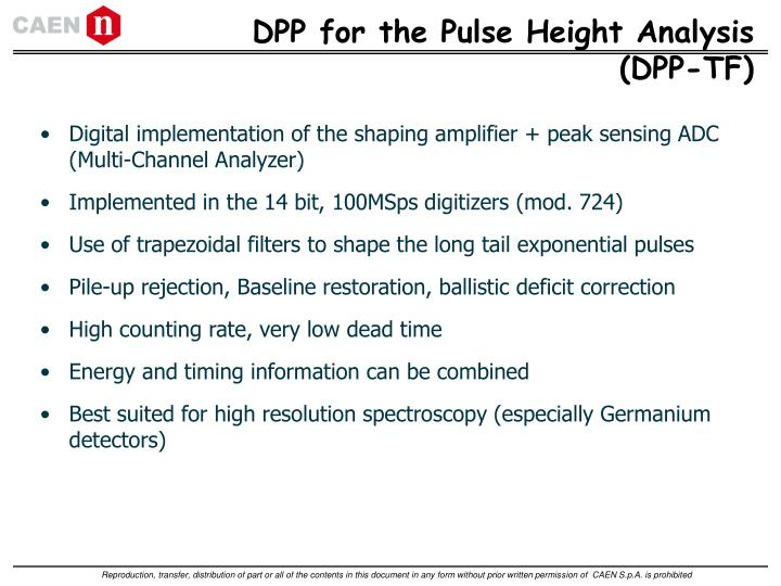 DPP for the Pulse Height Analysis