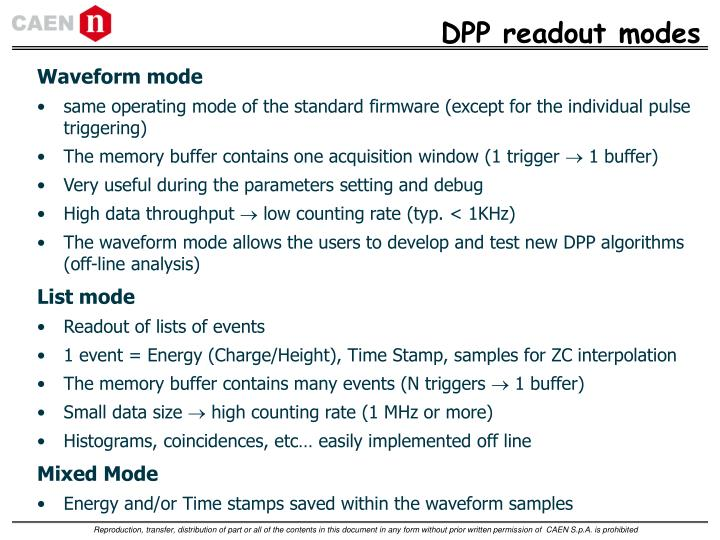 DPP readout modes