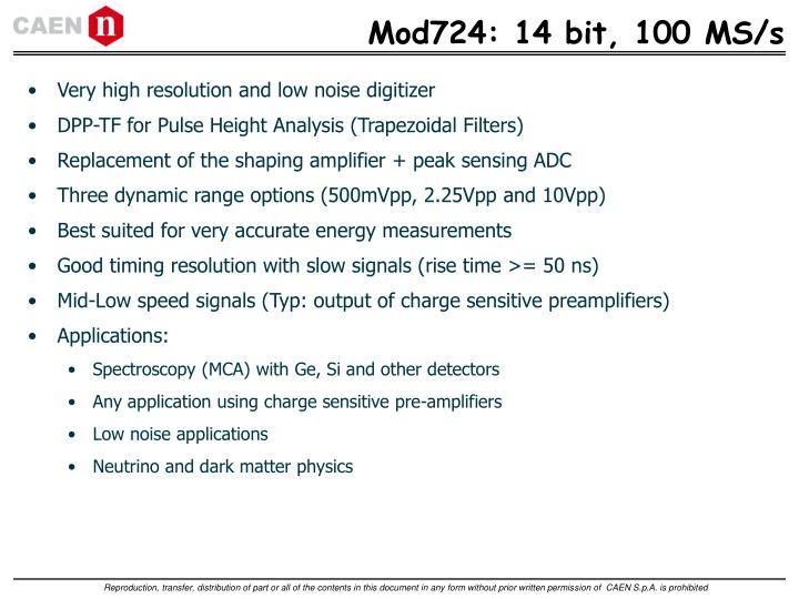 Mod724: 14 bit, 100 MS/s