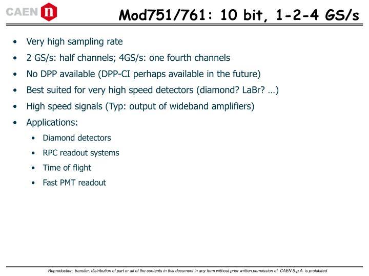 Mod751/761: 10 bit, 1-2-4 GS/s