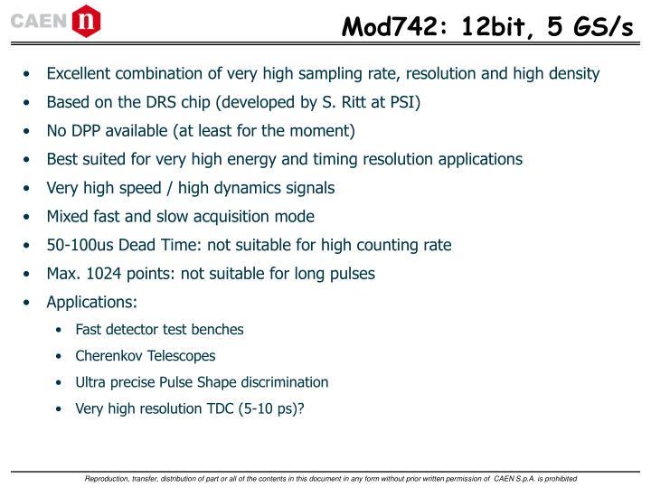 Mod742: 12bit, 5 GS/s